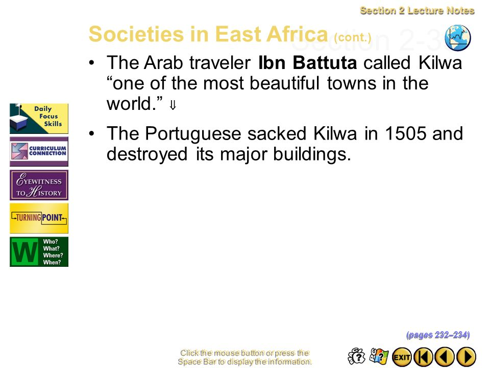 Section 2-33 Societies in East Africa (cont.)
