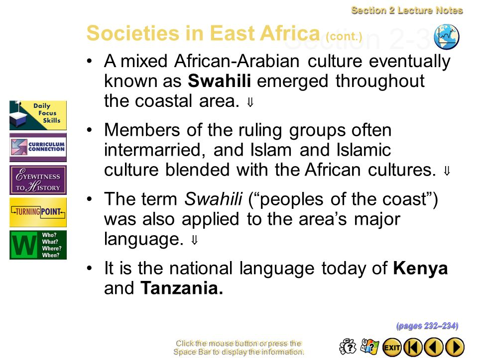 Section 2-34 Societies in East Africa (cont.)