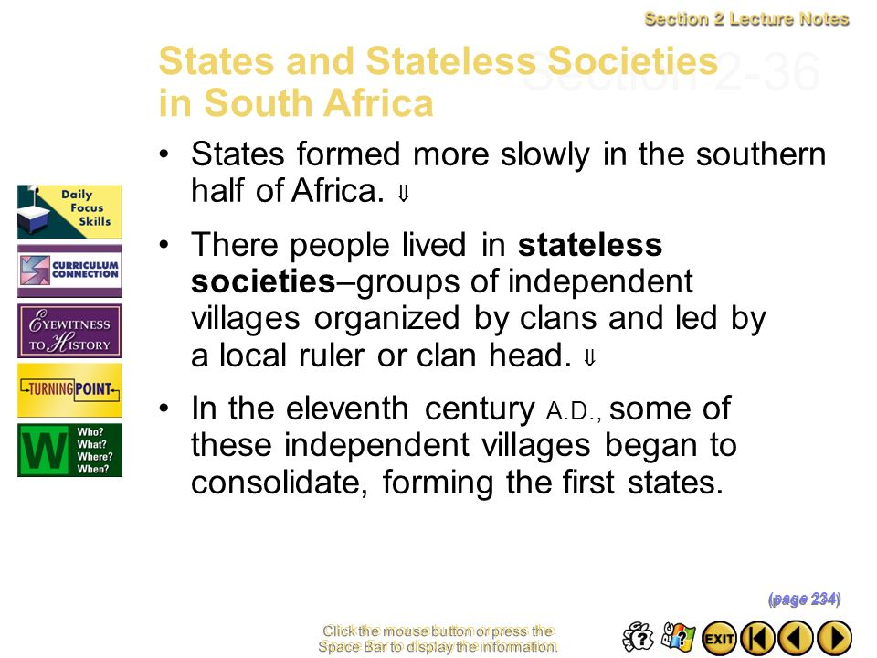 Section 2-36 States and Stateless Societies in South Africa