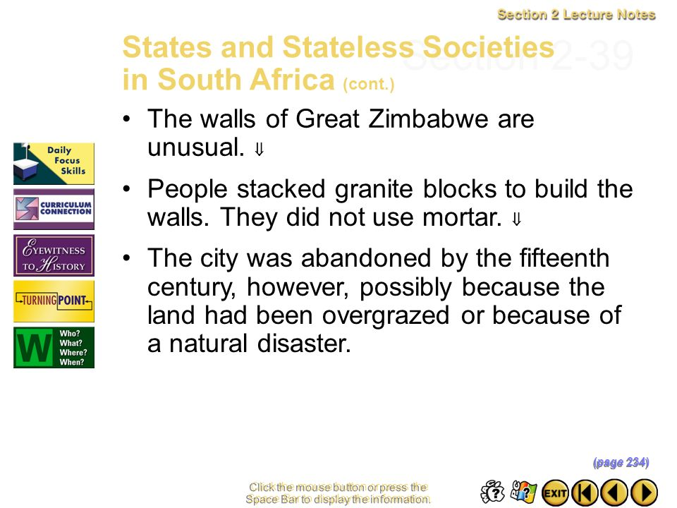 Section 2-39 States and Stateless Societies in South Africa (cont.)