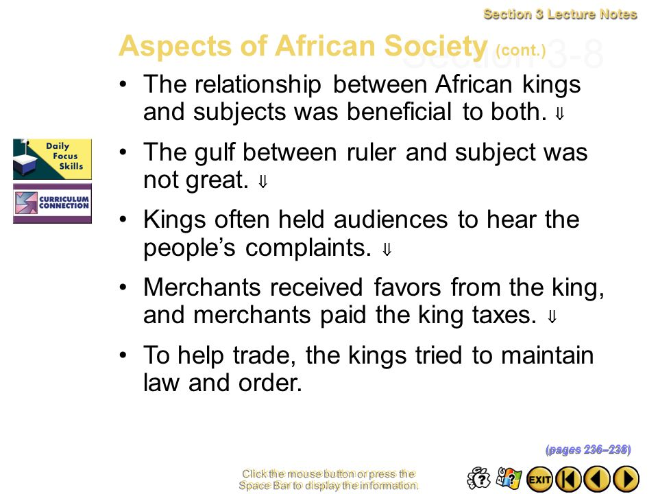 Section 3-8 Aspects of African Society (cont.)