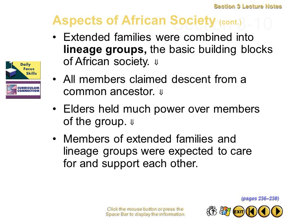 Section 3-10 Aspects of African Society (cont.)