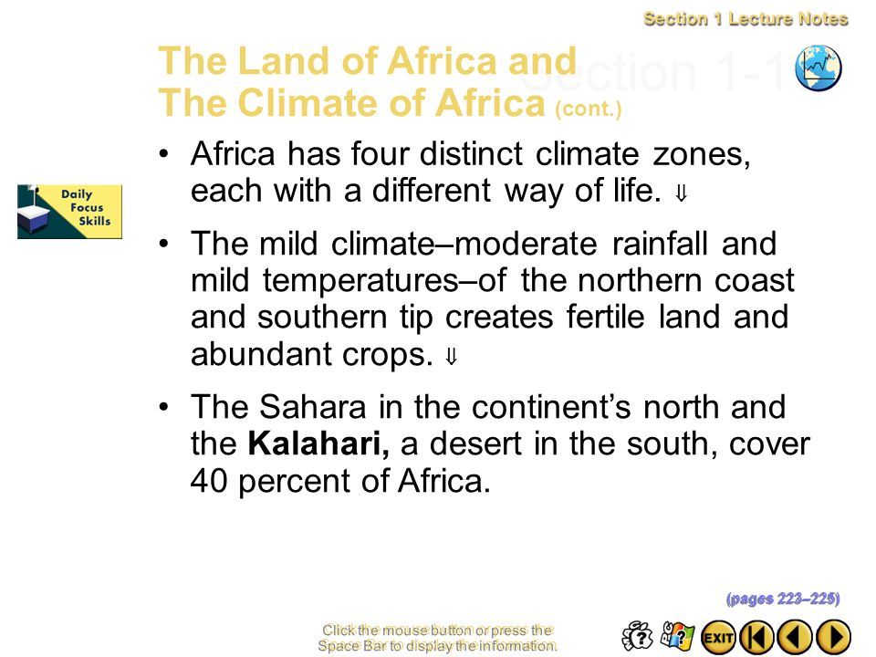 Section 1-10 The Land of Africa and The Climate of Africa (cont.)