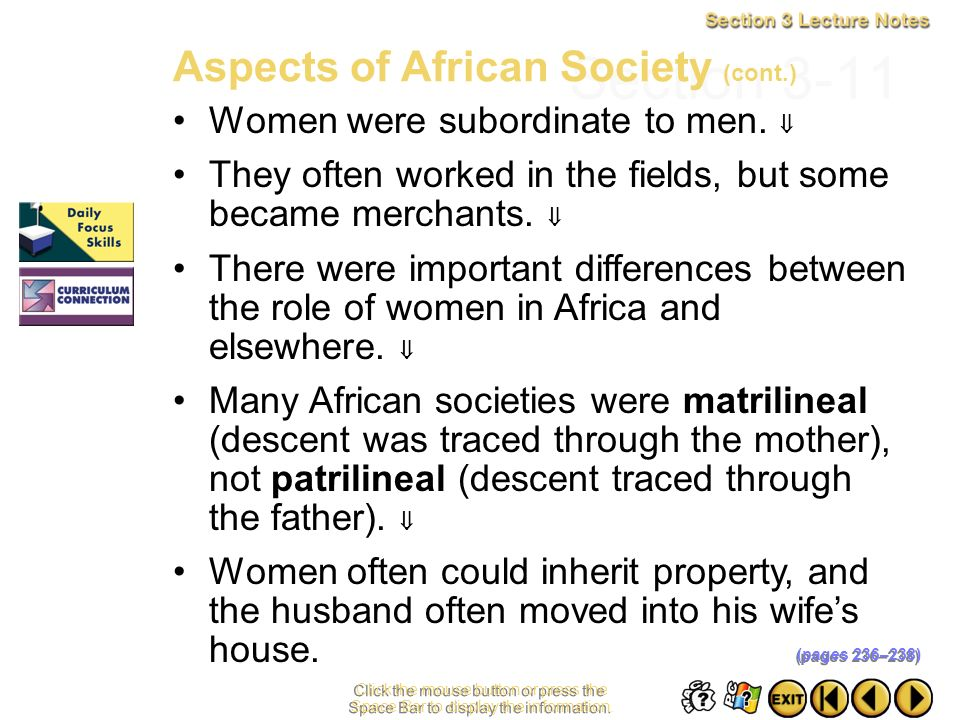 Section 3-11 Aspects of African Society (cont.)