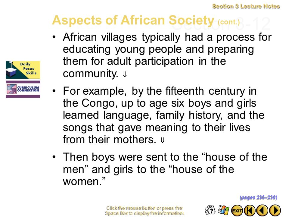 Section 3-12 Aspects of African Society (cont.)