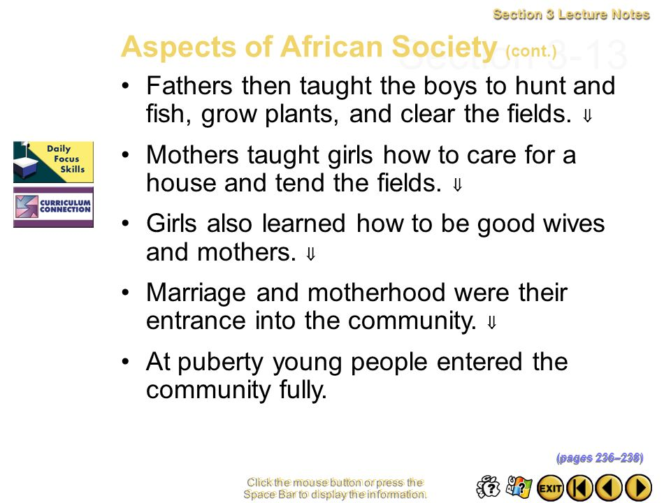 Section 3-13 Aspects of African Society (cont.)