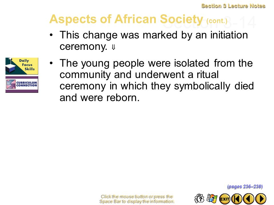 Section 3-14 Aspects of African Society (cont.)