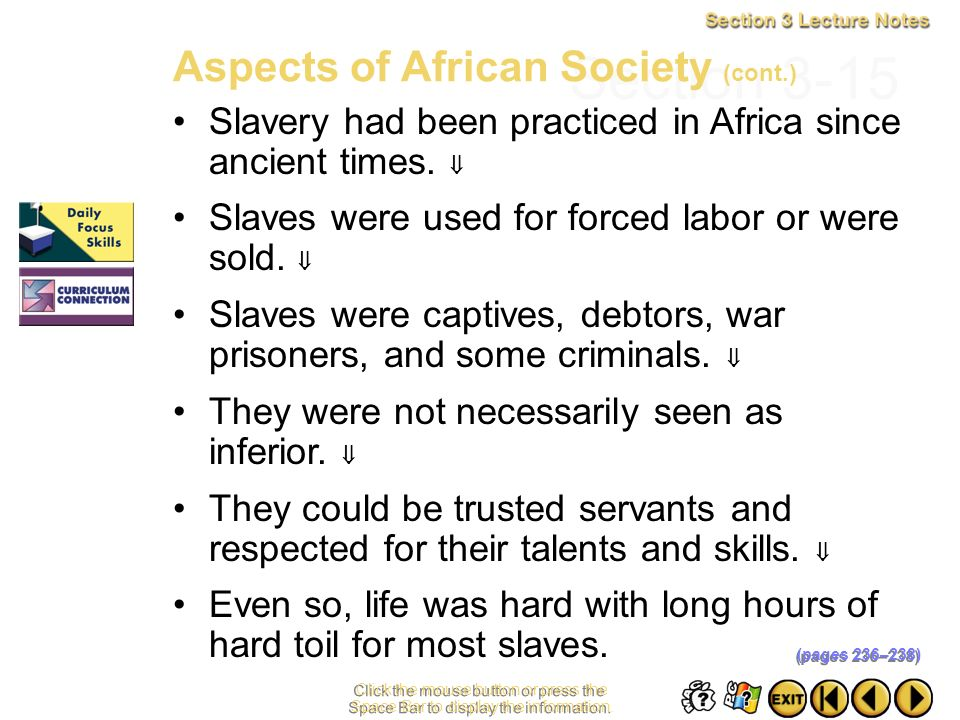 Section 3-15 Aspects of African Society (cont.)