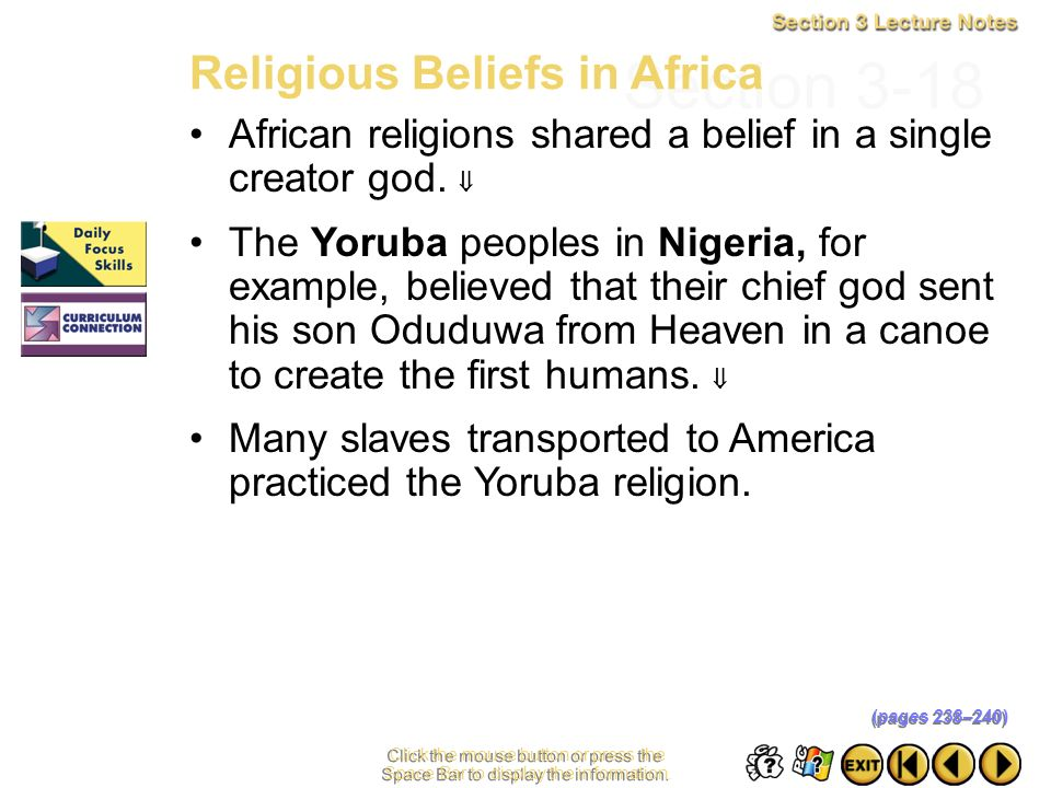 Section 3-18 Religious Beliefs in Africa