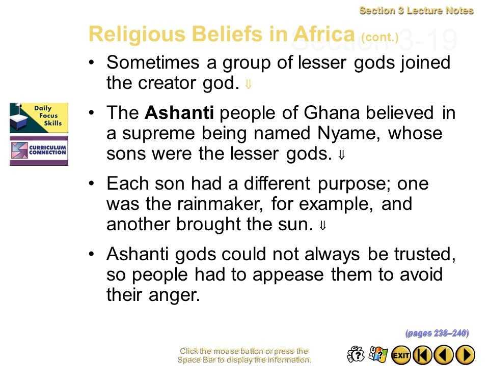Section 3-19 Religious Beliefs in Africa (cont.)