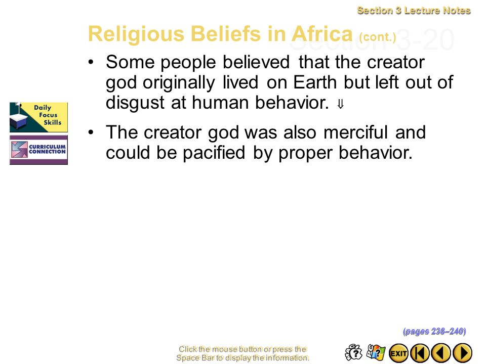 Section 3-20 Religious Beliefs in Africa (cont.)