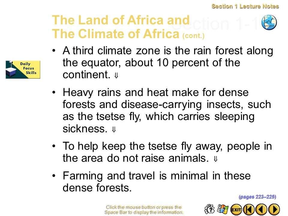 Section 1-11 The Land of Africa and The Climate of Africa (cont.)