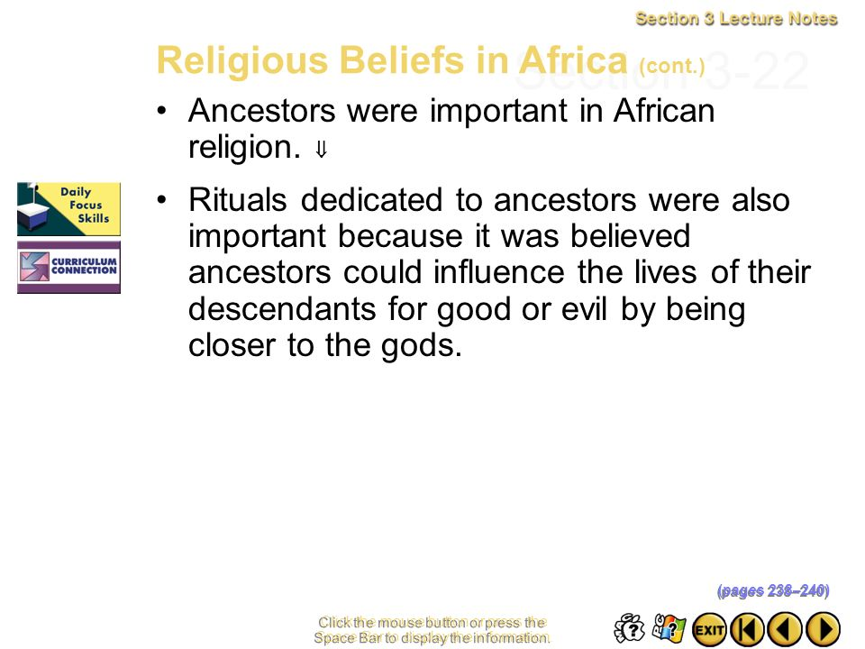Section 3-22 Religious Beliefs in Africa (cont.)