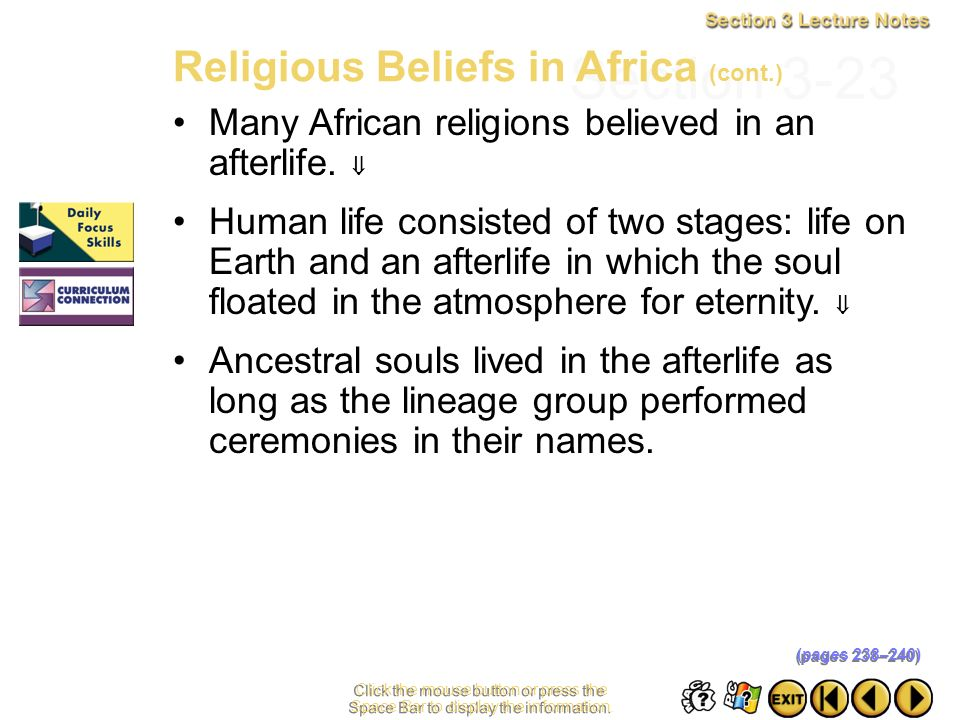 Section 3-23 Religious Beliefs in Africa (cont.)