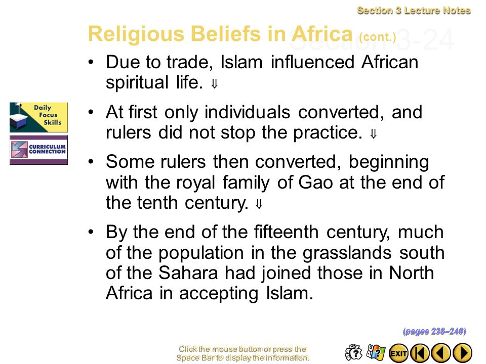 Section 3-24 Religious Beliefs in Africa (cont.)