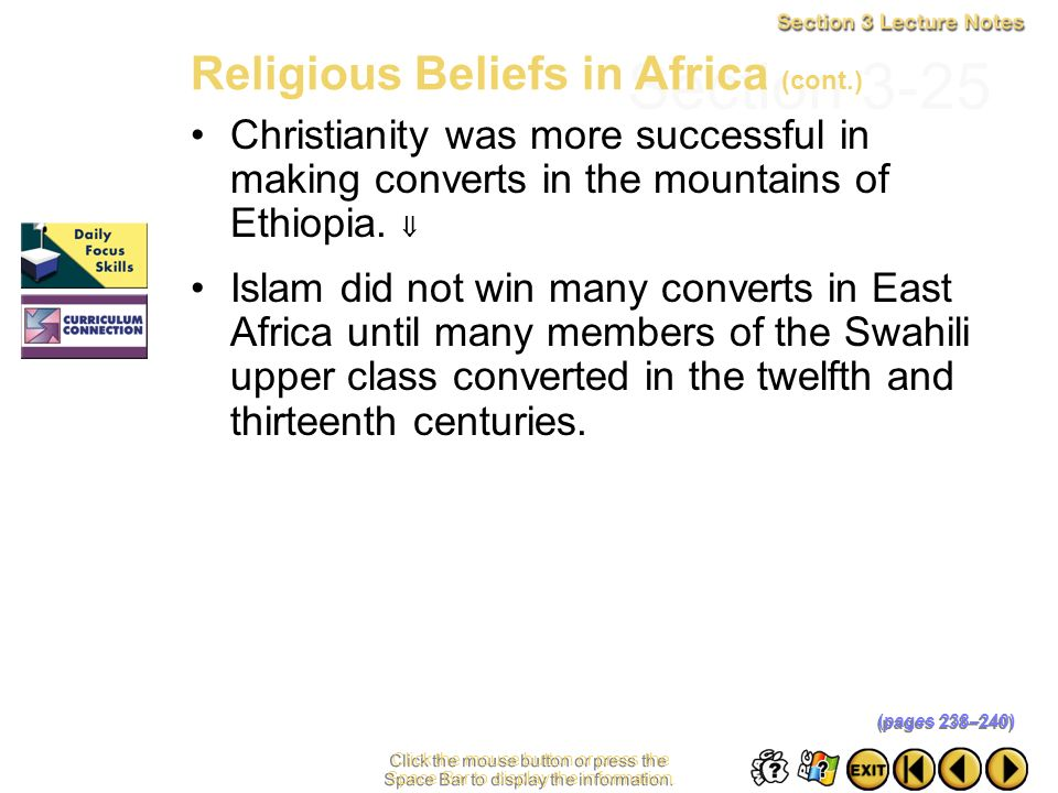 Section 3-25 Religious Beliefs in Africa (cont.)