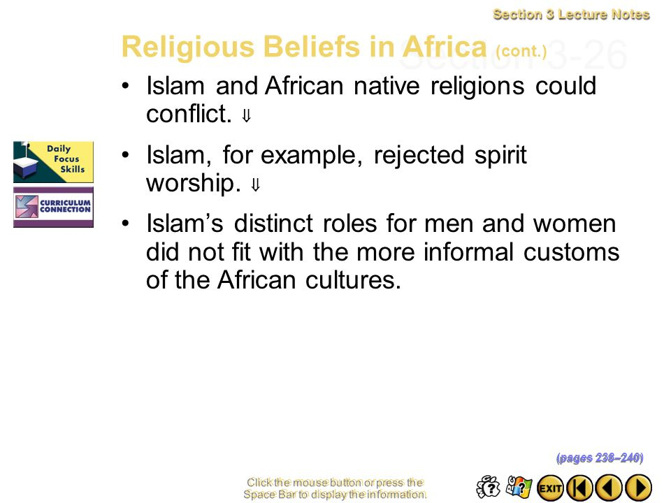 Section 3-26 Religious Beliefs in Africa (cont.)