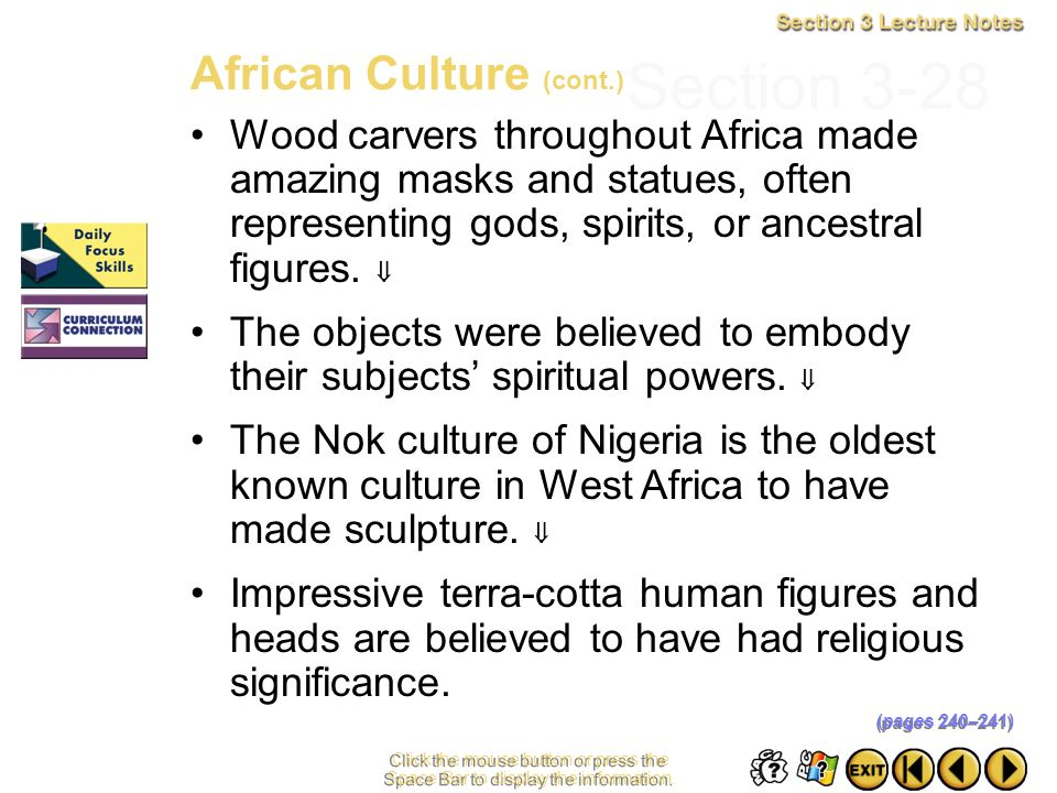 Section 3-28 African Culture (cont.)