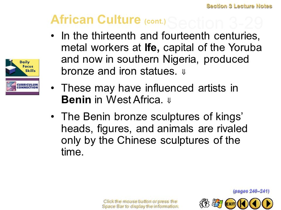 Section 3-29 African Culture (cont.)