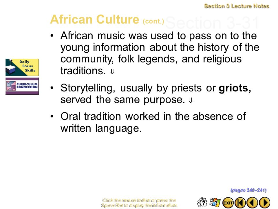 Section 3-31 African Culture (cont.)