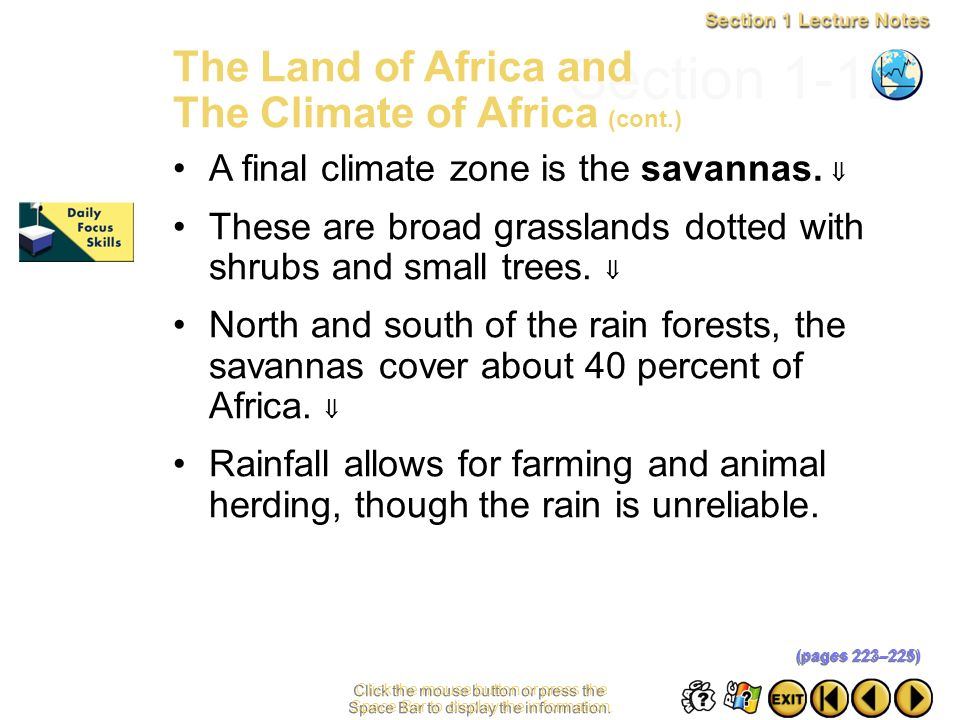 Section 1-12 The Land of Africa and The Climate of Africa (cont.)