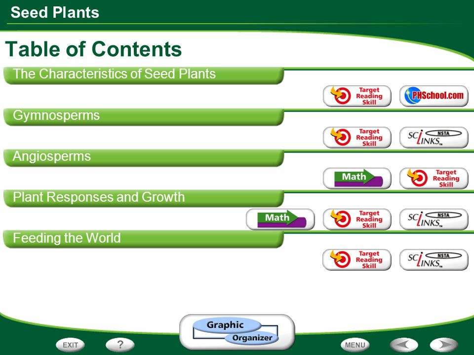Table of Contents The Characteristics of Seed Plants Gymnosperms
