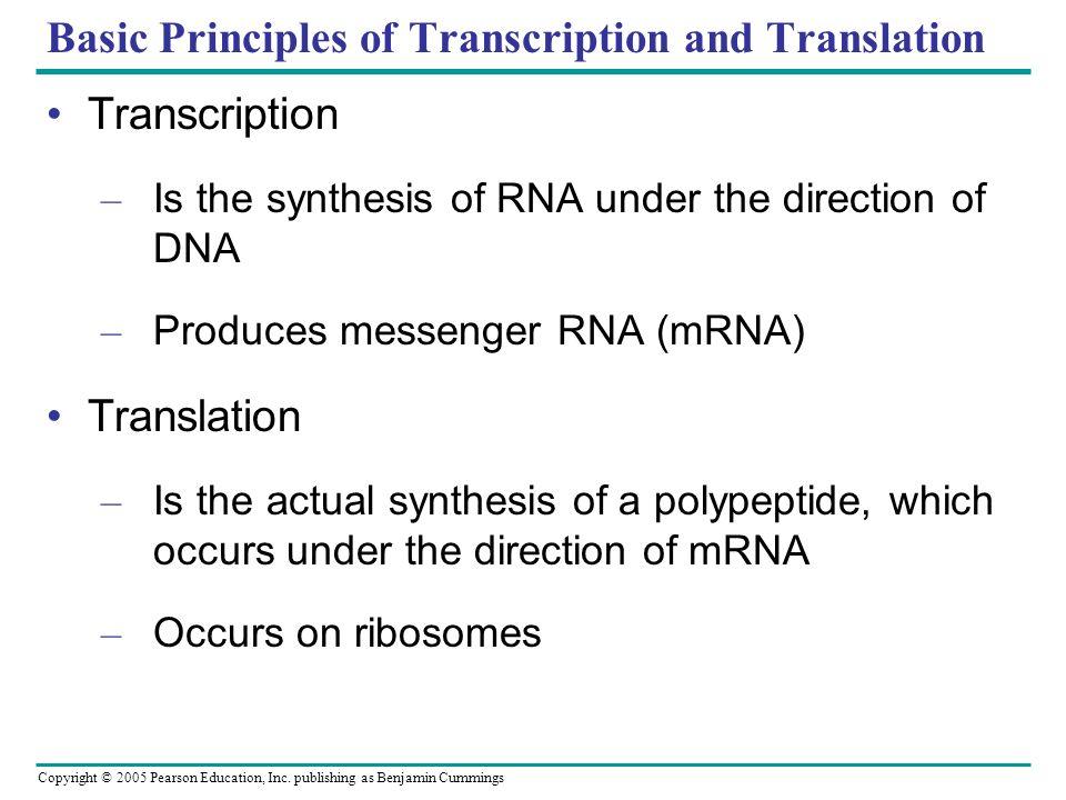 Basic Principles of Transcription and Translation