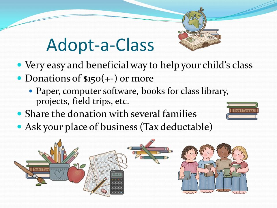 Adopt-a-Class Very easy and beneficial way to help your child's class