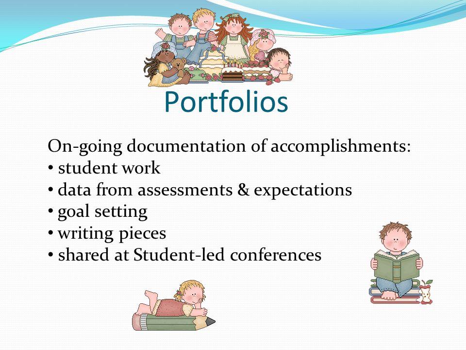 Portfolios On-going documentation of accomplishments: student work