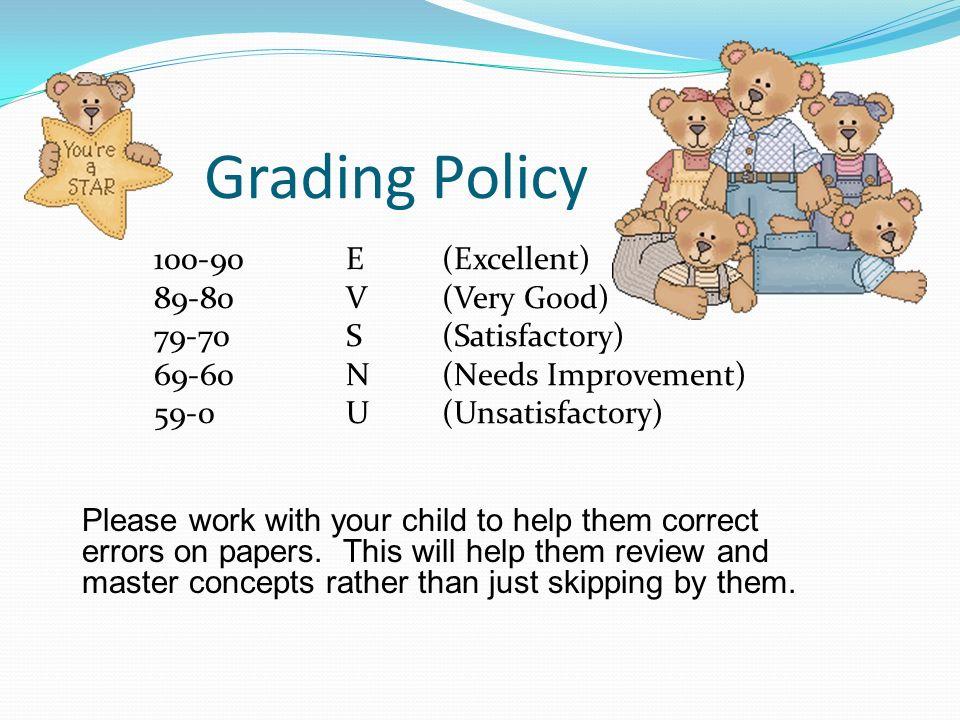 Grading Policy 100-90 E (Excellent) 89-80 V (Very Good)
