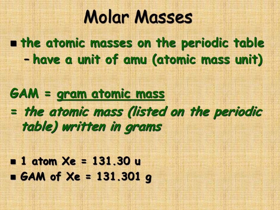Molar Masses the atomic masses on the periodic table