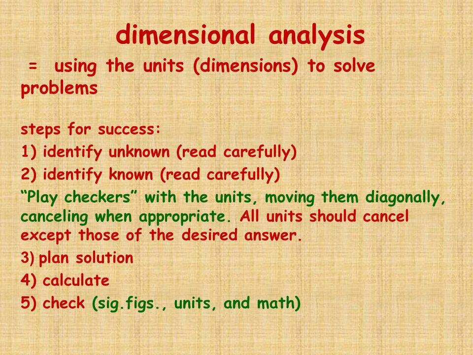 dimensional analysis steps for success: