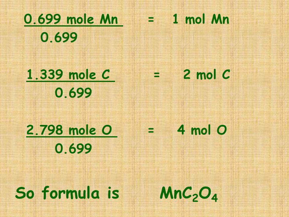 So formula is MnC2O4 0.699 mole Mn = 1 mol Mn 0.699