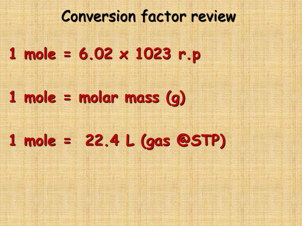Conversion factor review