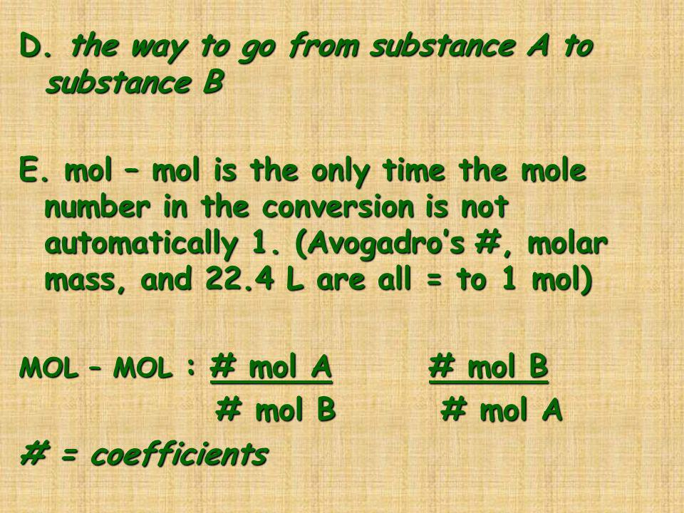 D. the way to go from substance A to substance B
