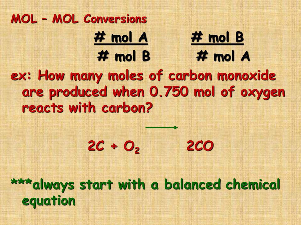 ***always start with a balanced chemical equation
