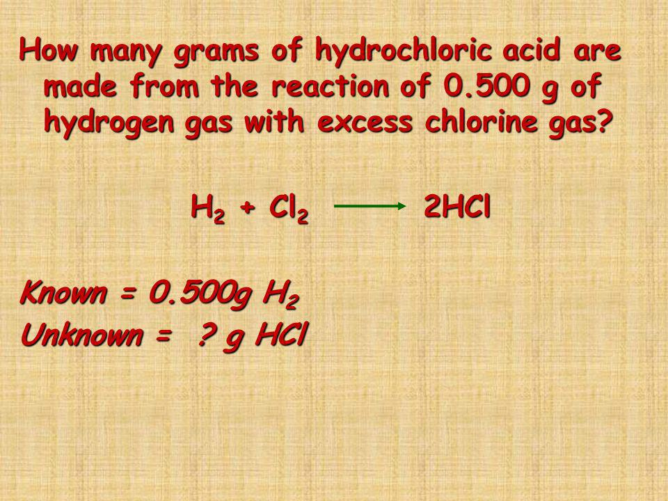 How many grams of hydrochloric acid are made from the reaction of 0