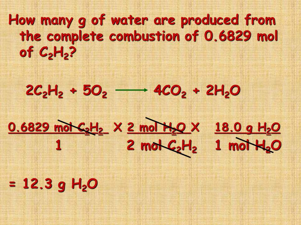 How many g of water are produced from the complete combustion of 0