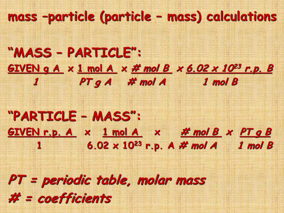 mass –particle (particle – mass) calculations MASS – PARTICLE :