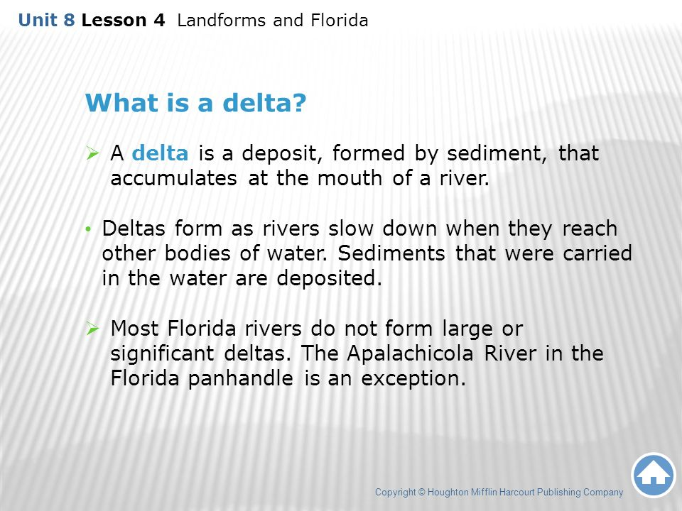 8.4 Landforms and Florida Copyright © Houghton Mifflin Harcourt ...