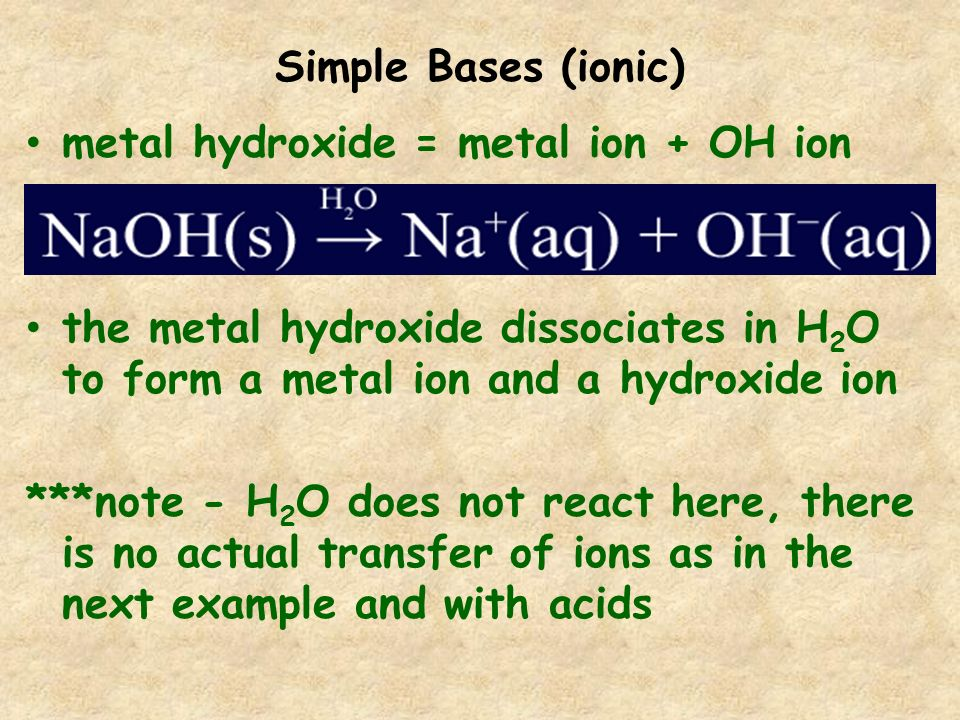 Simple Bases (ionic) metal hydroxide = metal ion + OH ion. the metal hydroxide dissociates in H2O to form a metal ion and a hydroxide ion.