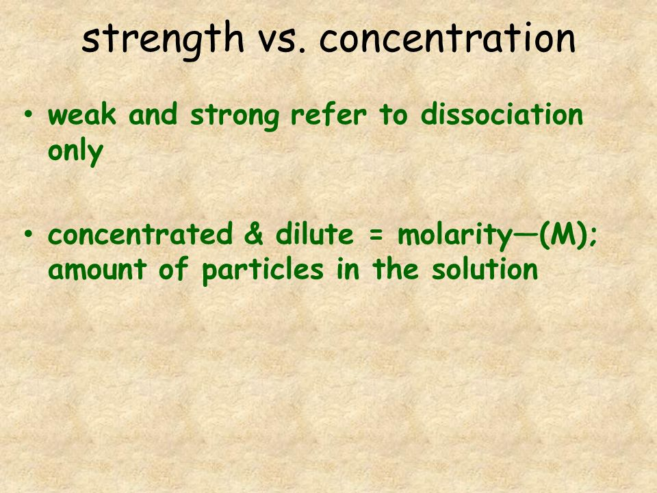 strength vs. concentration