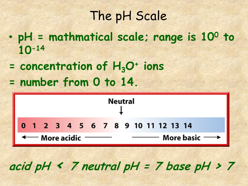 The pH Scale pH = mathmatical scale; range is 100 to 10-14