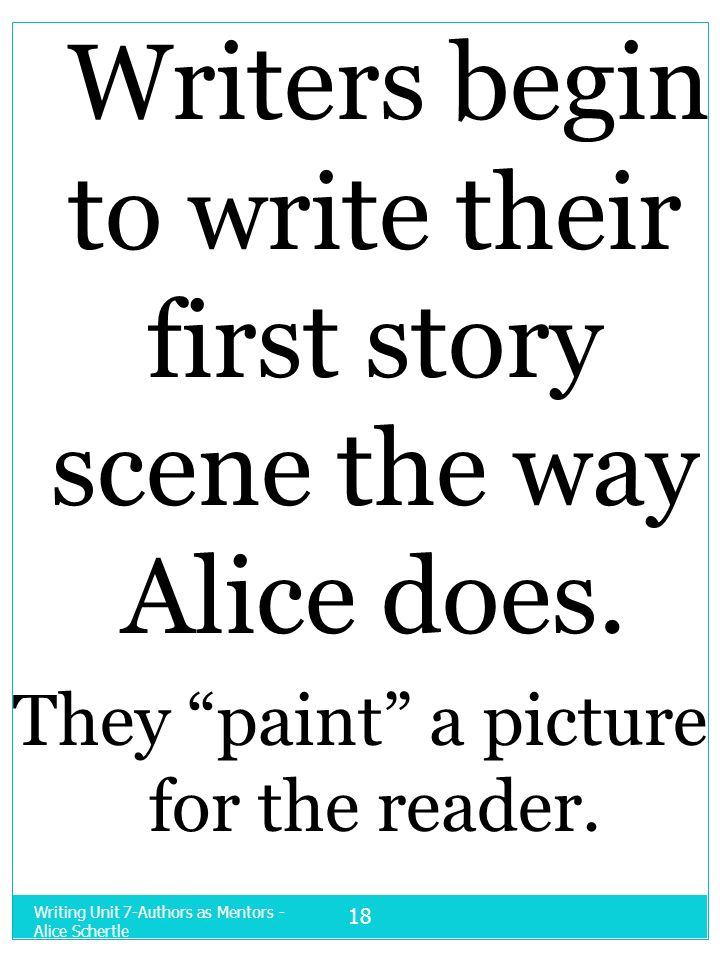 Writers begin to write their first story scene the way Alice does.