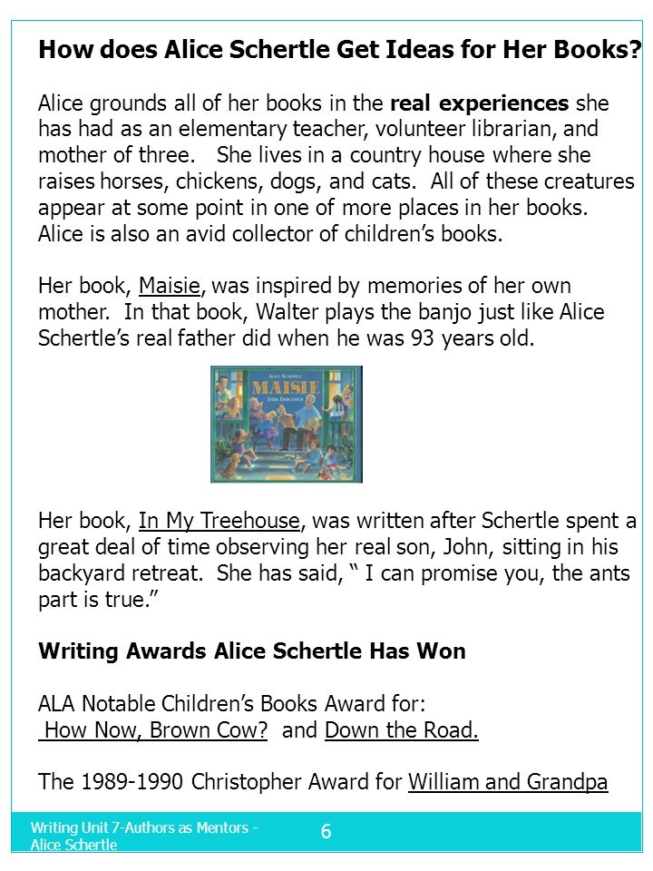 How does Alice Schertle Get Ideas for Her Books