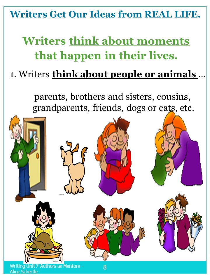 Writers think about moments