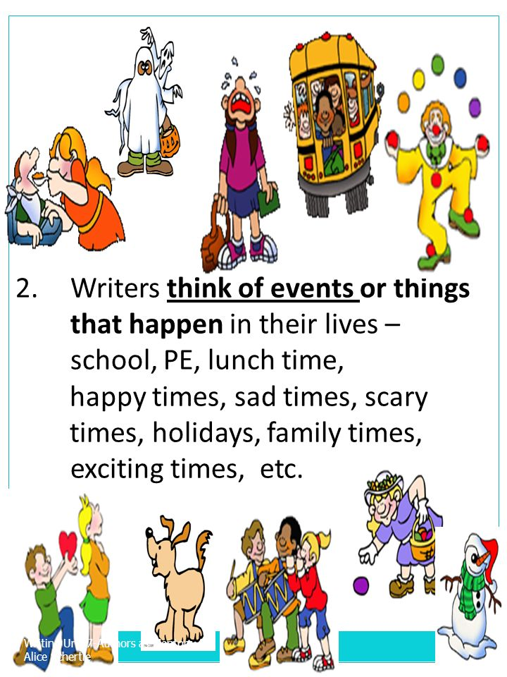 Writers think of events or things that happen in their lives –