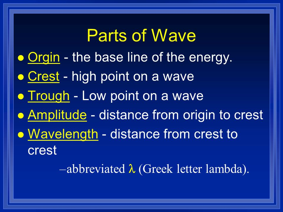 Parts of Wave Orgin - the base line of the energy.