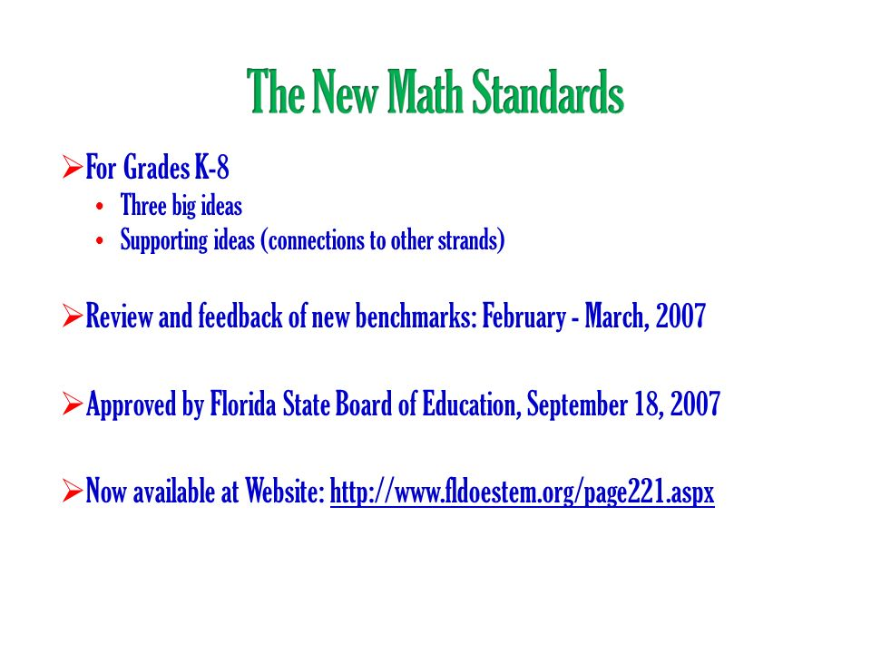 The New Math Standards For Grades K-8