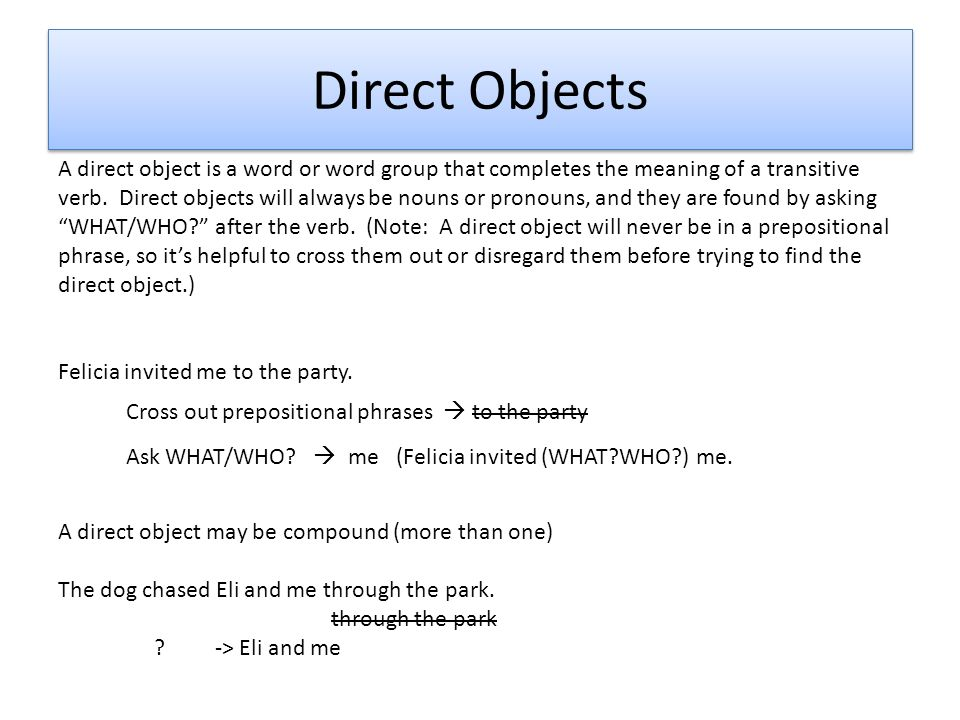 Complements direct objects indirect objects predicate nominative 3 direct stopboris Choice Image